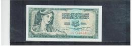 JUGOSLAWIEN , YUGOSLAVIA ,  5 Dinara ,  Pick #81b      ,    1.5.1968 - Kirgisistan