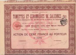 ACTION  TOMETTES ET CERAMIQUES DE SALERNES -VAR- ANNEE 1899 - Industrie