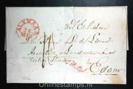 Nederland: Complete Brief Van Alkmaar Naar Edam, 1836, Na Posttijd Stempel - Niederlande