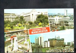 F868 Greeting From Manchester . Multiview - Auto Cars Voitures, Bus Autobus  - Used 1974 - Small Size - Manchester