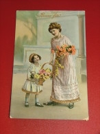 """FANTAISIES  - Femme  Et Enfant -  Bonne Fête """"  - (carte Perlée)  -  1913 - Femmes"""