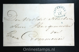 Nederland:cover Beverwijk Naar Krommenie , Aankomststempel Zaandam Waszegel, 1848 - ...-1852 Voorlopers