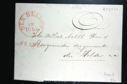 Nederland:cover Den Helder Lokaal Aan De Burgemeester, 1836, Aankomststempel, Franco K29+33 - ...-1852 Vorläufer