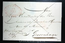 Nederland: Zeebrief Den Helder Naar Admiraal Directeur Generaal Marine Den Haag,  1839?, Aankomststempel - Nederland