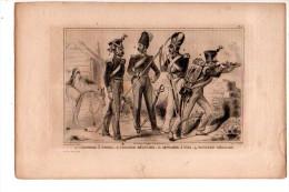 GRECE MODERNE: Cannonier à Cheval Cavalier Régulier Gendarme à Pied Fantassin Régulier Gravure XIXème Siècle - Old Paper
