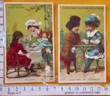 Chromo Fin 19° S./ Lot De 2 Chocolat Guérin Boutron / Vallet Minot / Le Lunch / Jeu D'echecs échiquier Jeux - Guérin-Boutron