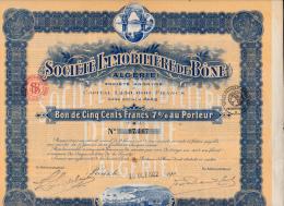 BON DE  500 FRANCS - SOCIETE IMMOBILIERE DE BONE- ALGERIE -1922 - Afrique