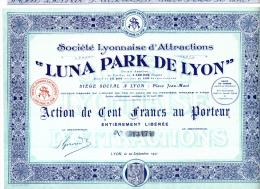 """ACTION DE 100 FRANCS - """"LUNA PARK DE LYON """" 1921 - Afrika"""