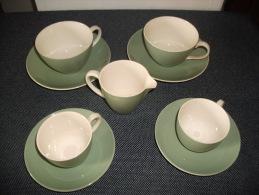 Ancien Service à Café/Thé + Pot à Lait Couleur Vert POOLE Made In England - Poole
