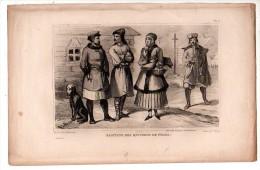POLOGNE Costume Habitants Des Environs De PRAGA  ( Gravure XIXème Siècle) - Old Paper