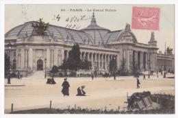 Timbre Semeuse Lignée 10 Cts Circulé 1904, Non Oblitéré Sur CP Paris, Le Grand-Palais, Les Hommes-sandwich Se Reposent - 1903-60 Semeuse Lignée