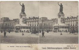 Carte Postale / Vue Stéréoscopique Julien DAMOY/Paris / Place De La République/SérieN°1/Vers 1910   STE57 - Photos Stéréoscopiques
