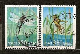 Norvege Norway 1998 Insects Avec Dragonfly Set Complete Obl - Norwegen
