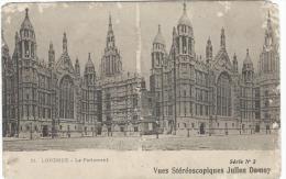 Carte Postale / Vue st�r�oscopique Julien DAMOY/Londres /Le parlement/S�rieN�2/Vers 1910   STE61