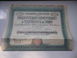 BRIQUETERIES,CIMENTERIES ET MATERIAUX DU NORD (100 Francs) DUNKERQUE - Actions & Titres