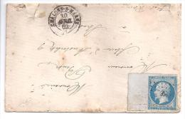 N° 14B  Grand Bord De Feuille Sur Lettre De Chalons Sur Marne - Postmark Collection (Covers)