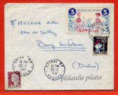 FRANCE LETTRE DE 1962 AVEC VIGNETTES DU JOURNAL DE SPIROU BANDE DESSINEE SCHTROUMPF - Curiosidades: 1960-69 Cartas