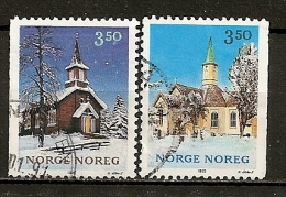 Norvege Norway 1993 Noel Eglises Churches Christmas Set Complete Obl - Gebraucht