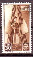REGNO 1937 N.409  COLONIE ESTIVE 30c.  BRUNO  NUOVO* 1 VALORE - Neufs