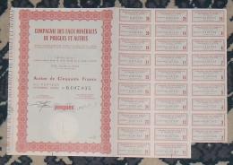 FRANCE Thermalisme COMPAGNIE DES EAUX MINERALES DE POUGUES Et AUTRES Action De 50 Francs 1963 - Eau