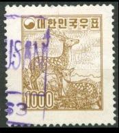 SOUTH KOREA 1958 Deers 1000h. Brown, VF Used - Corée Du Sud