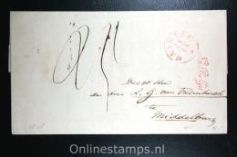 Nederland: Cover Haarlem  Naar Middelburg 1845, Aankomststempel, Na Posttijd, Waszegel - Niederlande