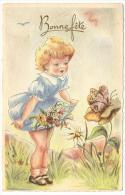 CP.    Fillette   Avec  Fleurs  Et  Papillon - Fête Des Mères