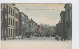 CP Liège Rue Des Guillemins Avec La Gare Vers 1905 Hoffmann Très Rare Colorisé - Liege