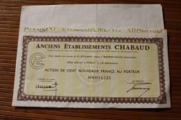 Anciens établissements Chabaud TITRE-ACTION 100 Nouveaux Francs Au Porteur Beaumont SurOise Seine-et-Oise - Autres