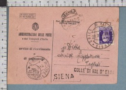 B9727 REGNO Storia Postale 1942 AVVISO DI RICEVIMENTO COLLE VAL D ELSA SIENA - Storia Postale