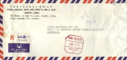 (365) China Commercial Cover - Posted To Australia - Registered - Under Paid And Taxed In China - China