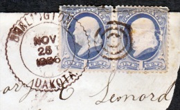 U.S.  BURLINTON,  DAKOTA  TERR.  CD  On Piece   1886 - Covers & Documents