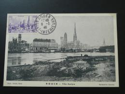 Carte Maximum Maximum Card Bombardements Cathédrale Rouen 1946 - Seconda Guerra Mondiale