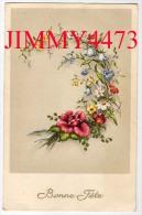 CPA - Bonne Fête - En 1955 Une Guirlande De Fleurs - Pas De Nom D´éditeur - Autres