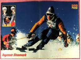 Kleines Poster  -  Ingemar Stenmark  -  Rückseite : Motocross  -  Von Pop-Rocky Ca. 1981 - Wintersport
