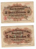 RARE Billet  BON DE CAISSE DE 2 FRANCS  DATE DE 1914 LUXEMBOURG - Luxembourg