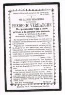 VICHTE -  Doodsprentje Van BURGEMEESTER Frederic VERHAEGHE +  1894 - Religion & Esotericism