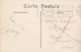 """CACHET GUERRE : """" LIEU DE  DESTINATION ENVAHI """" MEZIERES ARDENNES CAMP DE CHALONS MILITAIRES - War 1914-18"""