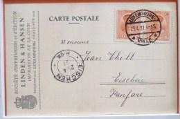 Cp Rare Carte Recu Facture Imprimeurs De La Cour LINDEN & HANSEN Voyagé 1927 Timbre Cachet Eischen De Thill Pour Fanfare - Luxembourg