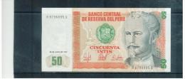 PERU  ,  50 Intis  ,  Printer CdM-Brasil  ,  26.6.1987  ,  Pick#131b - Peru