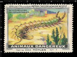 Old Original Swiss Poster Stamp (cinderella, Label) Nestle - Dangerous Animals Centipede Scolopendra Tausendfüßler - Insects
