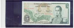 KOLUMBIEN  ,  COLOMBIA  ,  5 Cinco Pesos Oro ,    Pick # 406 E       ,      1.1.1981    ,   Unc - Kolumbien