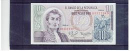 KOLUMBIEN  ,  COLOMBIA  ,  10 Diez Pesos Oro ,    Pick # 407 F       ,      7.8.1980  ,  Serie AZ    ,   Unc - Kolumbien