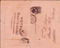 """1895 - CARTE-LETTRE ENTIER SAGE Avec BORDS De MUSTAPHA - CACHET MARITIME """"MARSEILLE LIGNE D´ALGER"""" Pour WORTHING (GB) - Postmark Collection (Covers)"""