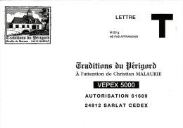TRADITIONS DU PERIGORG - MOULIN DE MOREAU - 24 SARLAT - ENVELOPPE REPONSE  T - VEPEX 5000 - LETTRE VALIDITE PERMANENTE - Cartas/Sobre De Respuesta T
