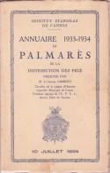 CANNES INSTITUT STANISLAS, Annuaire Et Palmarès 1933 - 1934 - Diploma & School Reports