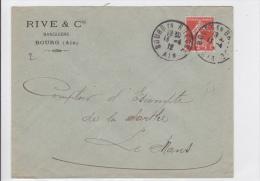 1912 - SEMEUSE PERFOREE R.C (BANQUE RIVE ET CIE) Sur ENVELOPPE De BOURG (AIN) - France
