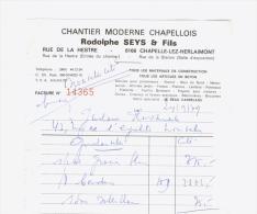 Facture Reçu Seys à Chapelle Lez Herlaimont En 1979 - Factures & Documents Commerciaux