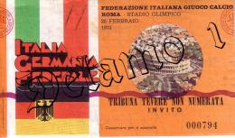 Naz. Di Calcio Italiane--ROMA--. Biglietto Originale Incontro -- ITALIA -- GERMANIA FEDERALE 1974 - Habillement, Souvenirs & Autres