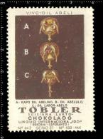 Old Original Swiss Poster Stamp(cinderella Vignette  Reklamemarke) Tobler Chocolate -  Beekeeping Bee Nesselsucht Honig - Bienen